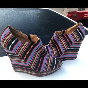 Multi Colored Platform Wedge Booties Sz 8M